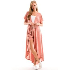 Other - French Terry Maxi Kimono Duster Beach Cover S M L